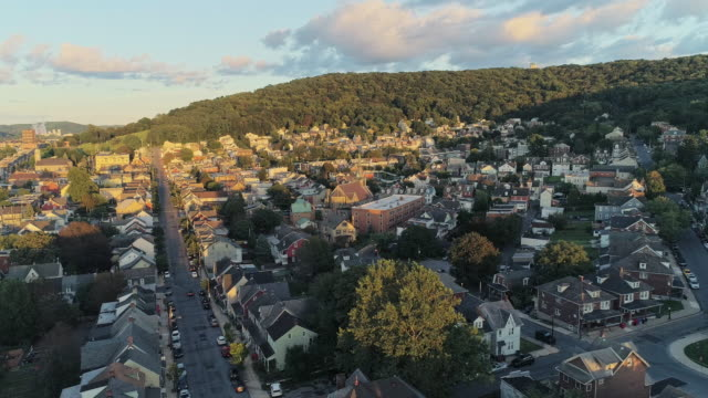 Panoramic scenic view of Bethlehem, Pennsylvania, at sunset. Aerial drone video with the panoramic camera motion.