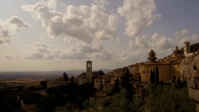 panoramic shooting on the surrounding Assisi with railing video
