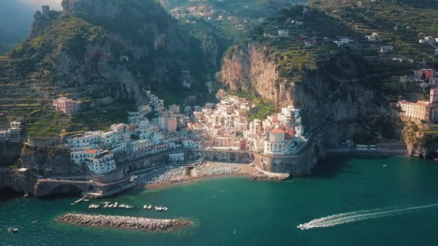 a panoramic shot of the mountains and the amalfi coast, aerial - mar mediterraneo video stock e b–roll