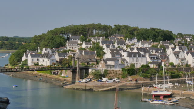 panoramic shot of typical breton village, Le Bono, France video