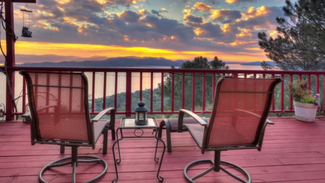 Panoramic Sunrise Landscape View from Large Luxurious Deck with Lounge Chair
