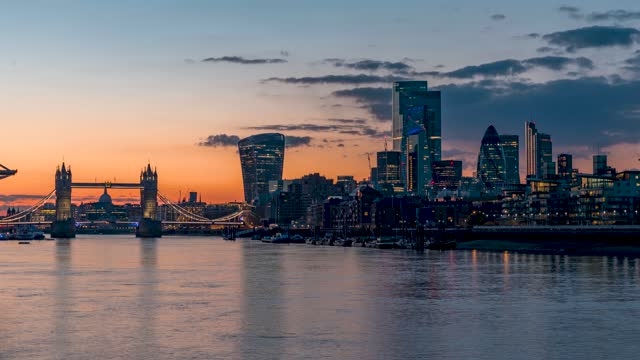 Panoramic sunset to night time lapse view to the cityscape of London