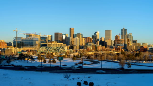 Panoramic Time-Lapse Video of Winter Downtown Denver Skyline From Day To Night video
