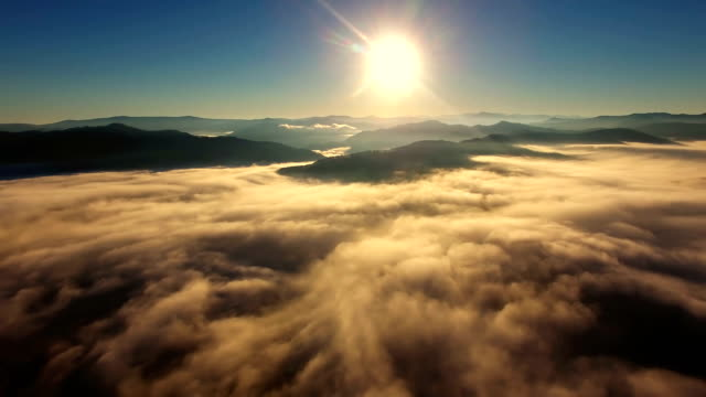 Panoramic view above the clouds. Aerial. video