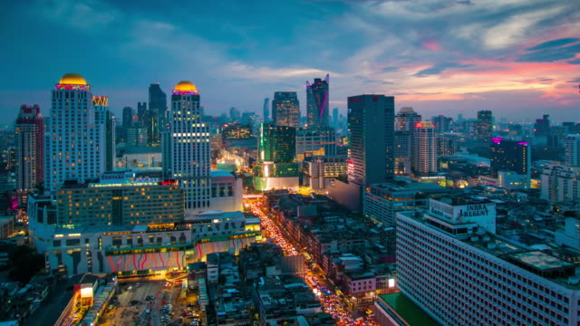 Panoramic view Cityscape business district from aerial view high building at dusk (Bangkok, Thailand) video