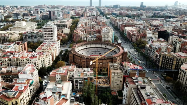 Panoramic view from drone of Barcelona