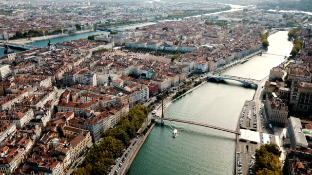 panoramic view from drone of cityscape of lyon - francja filmów i materiałów b-roll
