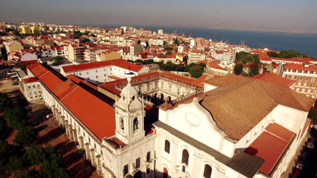 Panoramic view Graca and Castle of Sao Jorge Lisbon aerial video