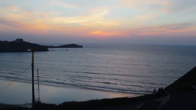 Panoramic view of a Cornish Coastal skyline (HD) video