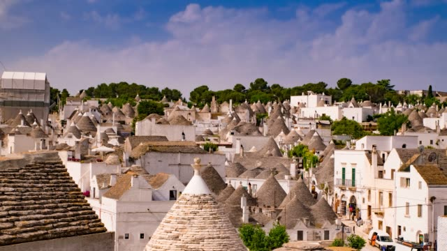 Panoramic view of Alberobello. Puglia, Italy. Time-lapse. Panoramic view of Alberobello. Puglia, Italy. Time-lapse. ancient architecture stock videos & royalty-free footage