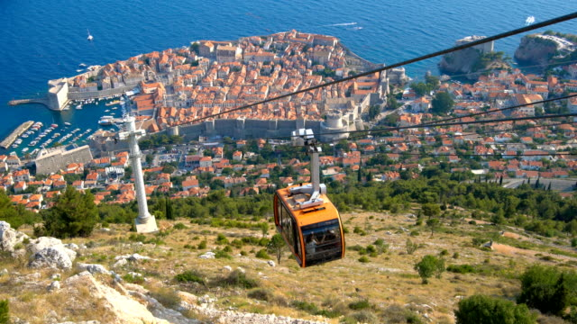 panoramic view of cable car and dubrovnik old town - хорватия стоковые видео и кадры b-roll
