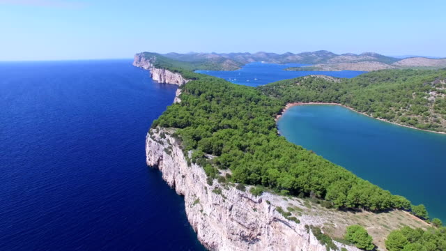 Panoramic view of cliffs and a beautiful salty lake on Dalmatian coast video