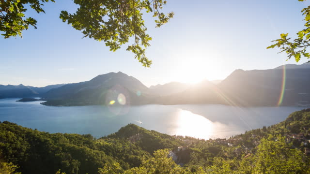 Panoramic view of Como lake and mountains in background video