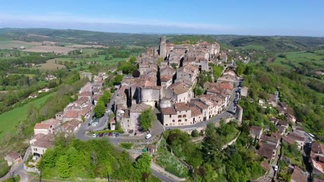 Panoramic view of Cordes sur Ciel, Tarn region of Midi Pyrenees, France video