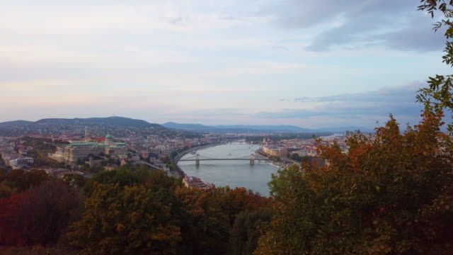 Panoramic view of Danube river and Chain Bridge at sunset in Budapest in Hungary