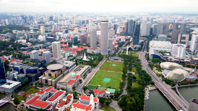 Panoramic view of downtown, public park, theater Esplanade of Singapore.