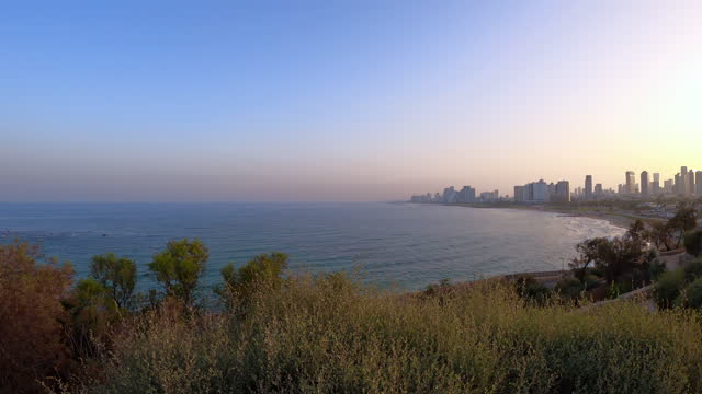 Panoramic view of downtown Tel Aviv as seen from Old City of Jaffa