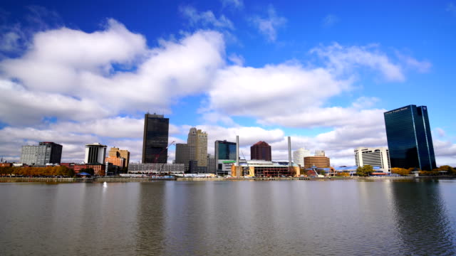 Panoramic view of downtown Toledo Ohio's skyline from across the Maumee river