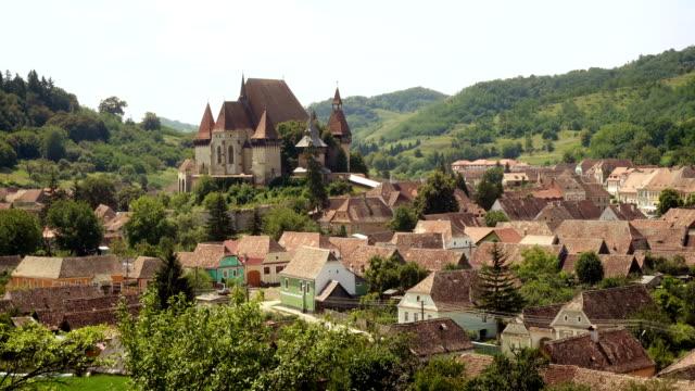 panoramic view of famous fortified saxon church of Biertan, Sibiu, Romania