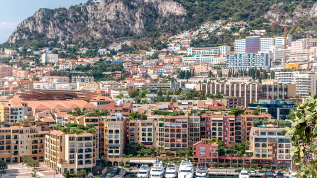 Panoramic view of Fontvieille timelapse - new district of Monaco video