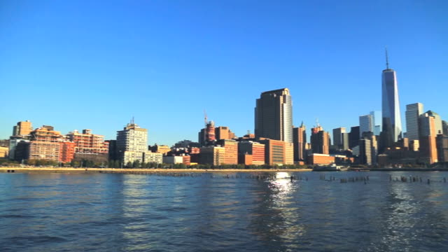 Panoramic view of Lower Manhattan with Freedom Tower during sunset video