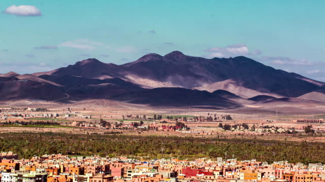 Panoramic view of Marrakesh and the snow capped Atlas mountains, Morocco video