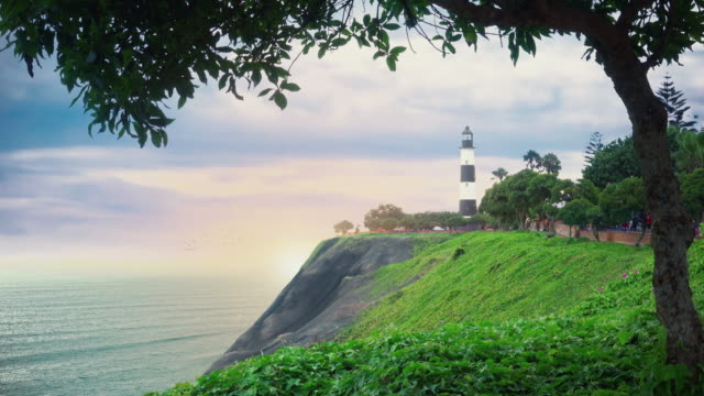 Panoramic view of Miraflores district lighthouse in Lima, Peru.