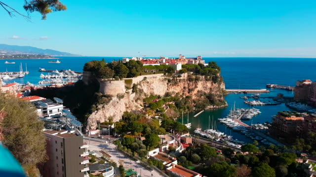 Panoramic View of Monaco With Princes Fortress Beautiful Panoramic View of Monaco Monte-Carlo With Prince's Fortress - Panorama Video 4K monte carlo stock videos & royalty-free footage