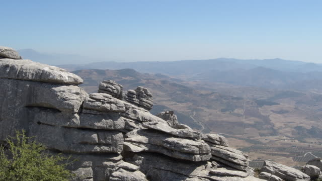 Panoramic view of mountains and field from Torcal in Antequera, Spain
