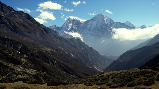 Panoramic view of mountains in Himalayas, Nepal, on the hiking trail leading to the Everest base camp. video
