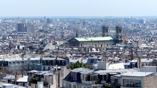 panoramic view of paris - montmatre utsikt bildbanksvideor och videomaterial från bakom kulisserna