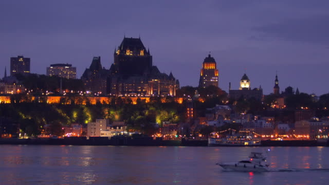 Panoramic view of Quebec City skyline with Saint Lawrence river