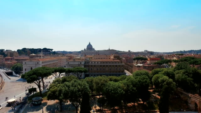 Panoramic view of river with bridges from the terrace of Castel St. Angelo