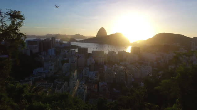 Panoramic view of the city of rio de janeiro in brazil, backlit sunset video