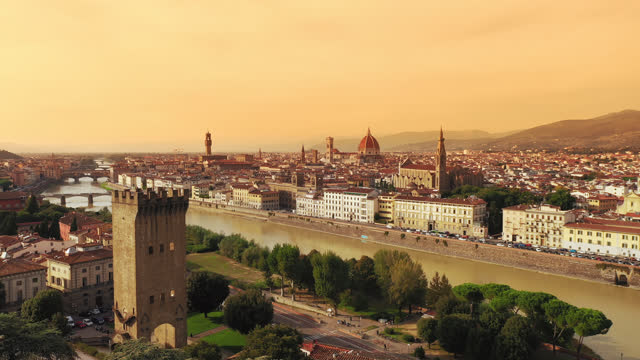 AERIAL Panoramic view of the Florence at dusk