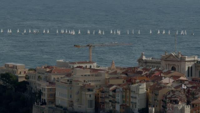 Panoramic view of the Monaco and its seacoast Cote d'Azur French Riviera is situated in the southern eastern part of the mediterranean coast of France and it is famous for its exclusive beaches and its beautiful sea sergionicr stock videos & royalty-free footage