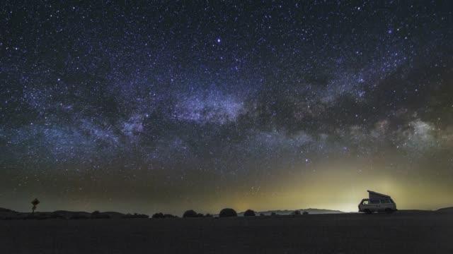 Panoramic View Of The Rising Milky Way Night Sky Astro Timelapse