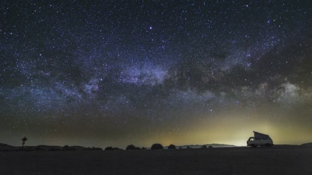 panoramic view of the rising milky way night sky astro timelapse - parco nazionale video stock e b–roll