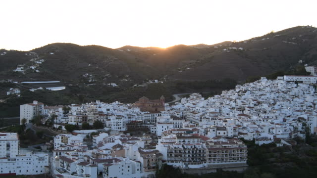 panoramic view of the village of andalusia, torrox, spain at crepuscule - white house filmów i materiałów b-roll