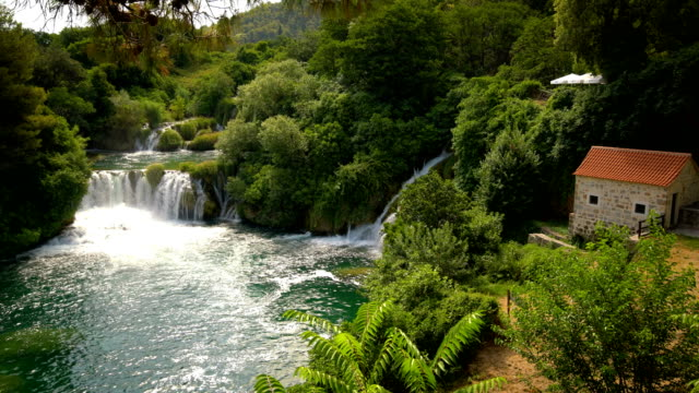 Panoramic view of waterfalls in Krka NP, Croatia
