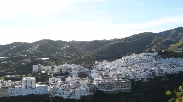 panoramic view of white village of andalusia, torrox, spain - white house filmów i materiałów b-roll