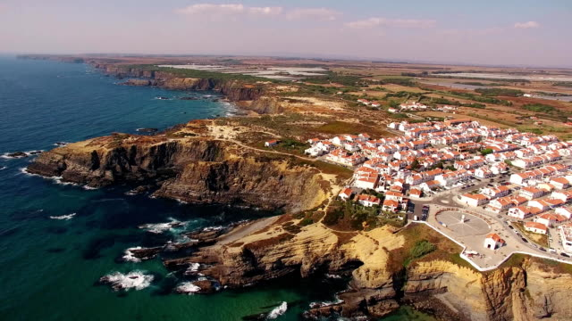 Panoramic view of Zambujeira de Mar aerial view, Portugal video