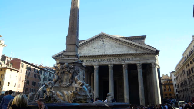 Panoramic view on Fontana del Pantheon and blue sky, sightseeing in Rome