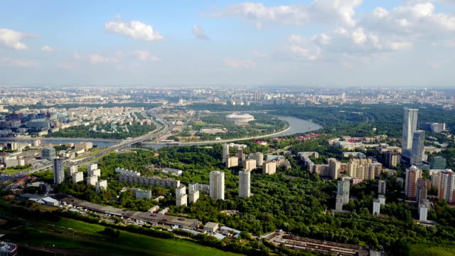 Panoramic view on Moscow. Footage. Ministry of foreign Affairs. Russia. View from above video