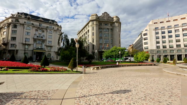 Panoramic view on Moyua square, fascinating architectural cityscape of Bilbao video