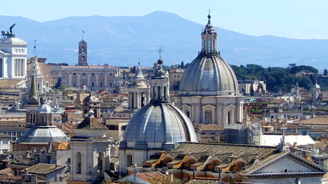 Panoramic view on the rooftops of Rome, Italy. Rome skyline. Panning shot. video