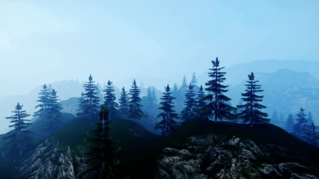 Panoramic View Over Mountains Peaks Green Pines video
