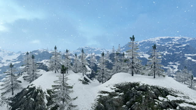 panoramic view over mountains peaks,snowing over mountains - ice on fire video stock e b–roll