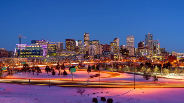 Panormaic Time-Lapse of Winter Denver Skyline From Day To Night