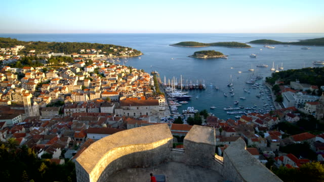 panormaic view of hvar town on hvar island croatia - хорватия стоковые видео и кадры b-roll